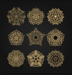 set of circular ornaments sketches for tattoo vector image