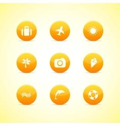 Set of orange icons holiday theme vector image