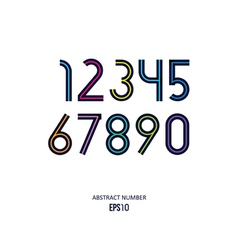 Set of the stylized dark numbers with the color vector
