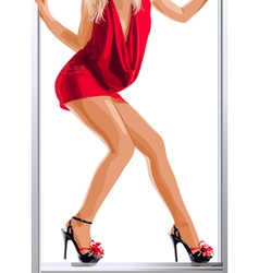 Sexy slim woman legs and red dress vector