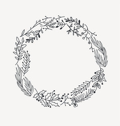 Sketch festive christmas round wreath vector