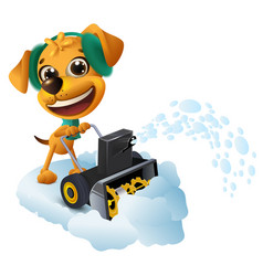 Snow removal yellow dog cleans snow with snow vector