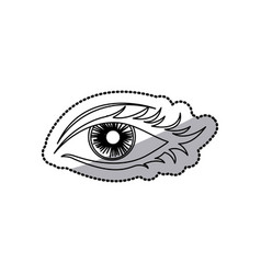 Sticker outline woman eye opened vector