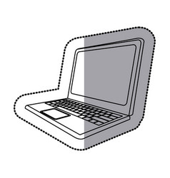 Sticker silhouette laptop side view vector