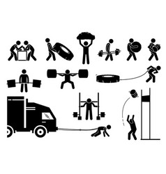 Strength athletics strongman competition icons vector