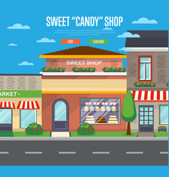 Sweet candy shop banner in flat design vector