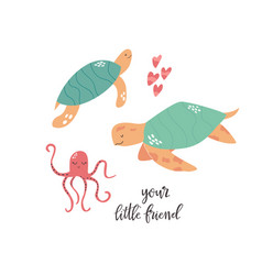 Sweet design with cute sea animals nursery art vector