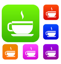 tea cup and saucer set color collection vector image