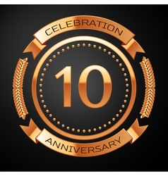Ten years anniversary celebration with golden ring vector