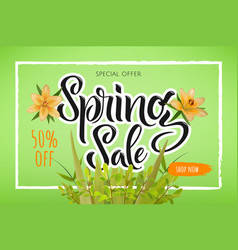 the advertising poster is a spring sale discounts vector image