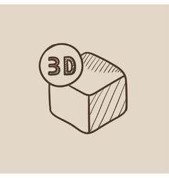 Three D box sketch icon vector image