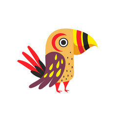 tropical parrot with colored feathers wings and vector image