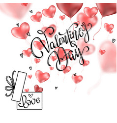 Valentines hearts with gift box postcard vector