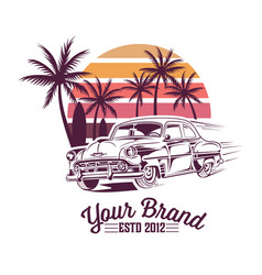 vintage summer design with vintage car vector image