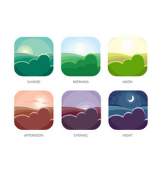 Visualization of various times of day morning vector