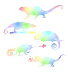 Watecolor set of chameleons vector image