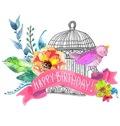 Watercolor flowers and bird cage vector image vector image