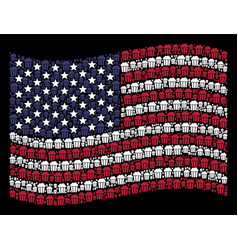 waving usa flag stylized composition of popcorn vector image