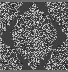 White damask pattern on a black background vector