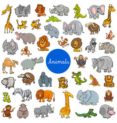 Wild animal characters big set vector