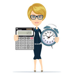 woman holding an electronic calculator and alarm vector image