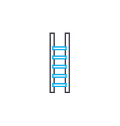 wooden staircase linear icon concept wooden vector image
