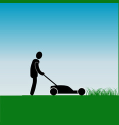 Work in garden mowing grass with a lawnmower vector