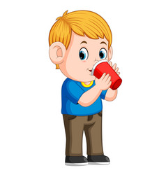 Young boy drinking with paper cup vector
