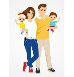 young father and mother with cute babies vector image