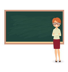 young female teacher against a blackboard vector image