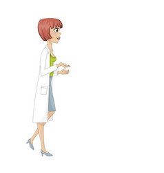 Young woman in doctors smock vector