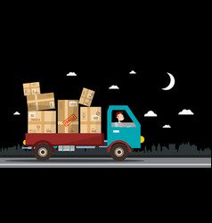 Night delivery service van full of parcels on vector