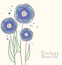 Vintage flower card vector