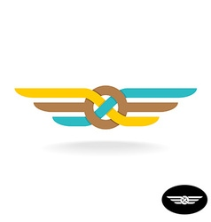 Link knot logo with wings flat style weave symbol vector