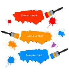 paint brushes and paint banners vector image