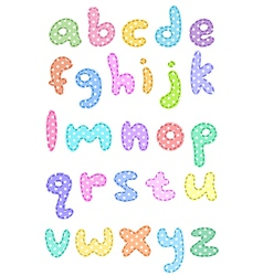 polka dot lower case alphabet with stitches vector image