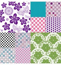 Set vintage colorful patterns vector image vector image