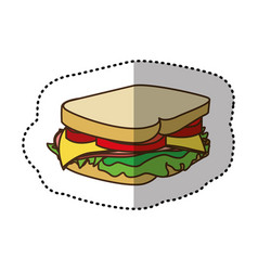 color sandwich fast food icon vector image vector image