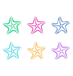 colorful stylized starfish icons vector image vector image