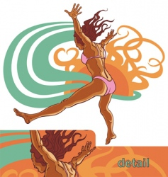 girl jump into the water vector image vector image