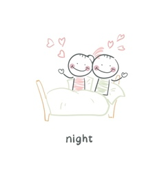 Loving couple in bed vector image