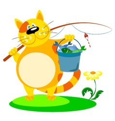 cat with a fishing rod vector image