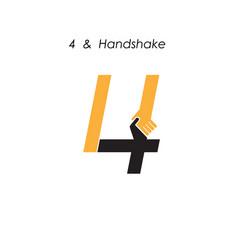Creative 4 - number icon abstract logo design vector
