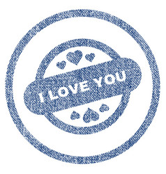 i love you stamp seal rounded fabric textured icon vector image vector image
