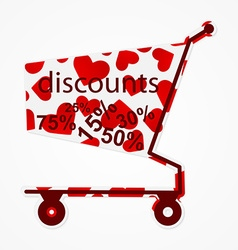 Label discount shopping cart with hearts Modern vector image vector image