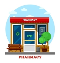 Pharmacy shop or store drugstore building vector image vector image