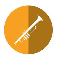 trumpet musician instrument icon shadow vector image