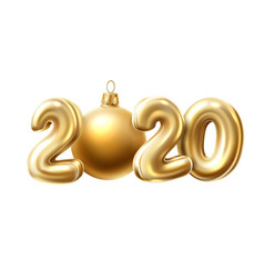 2020 new year 3d golden numbers baloons vector image