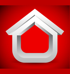 3d house symbol on red vector image