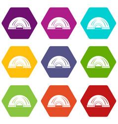 Aboriginal dwelling icons set 9 vector